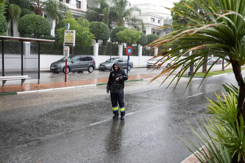 Storms and Flooding in Estepona. Torrential rain and storms on the Costa del Sol in Spain result in massive flooding with damage to property and infrastructure stock photography