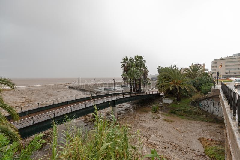 Storms and Flooding in Estepona. Torrential rain and storms on the Costa del Sol in Spain result in massive flooding with damage to property and infrastructure royalty free stock photos