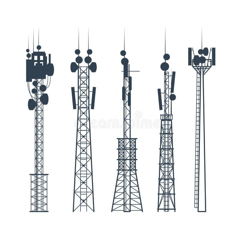 Torres celulares da transmissão, silhueta da antena de uma comunicação satélite, da torre de rádio ilustração do vetor