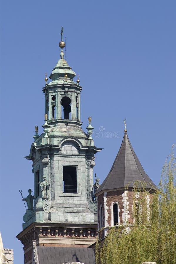 Torres da catedral de Wawel fotos de stock royalty free