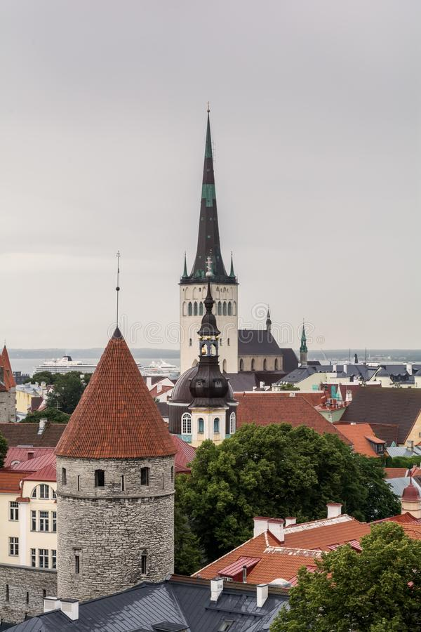 Torres da cidade de Tallinn imagens de stock