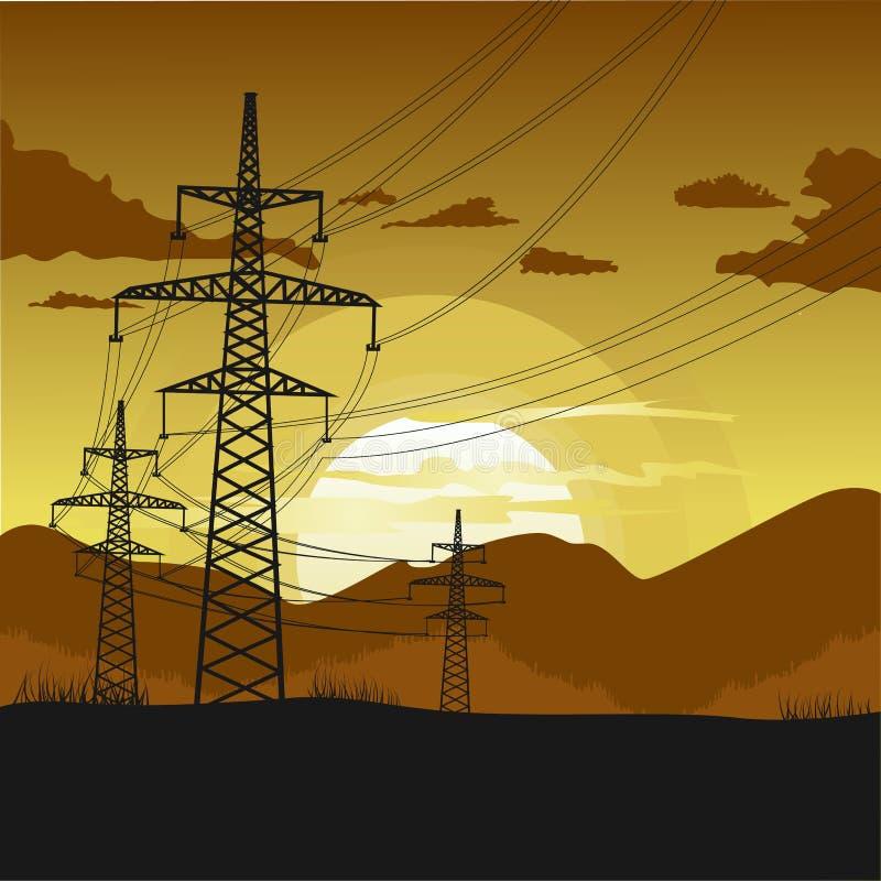 Torres de alta tensão da transmissão Paisagem bonita no por do sol ilustração royalty free