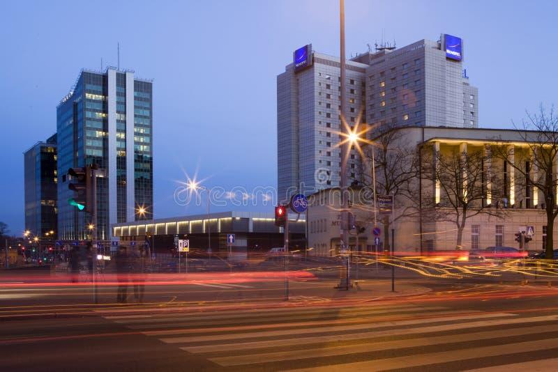 Torres de Andersia e de PfC em Poznan imagens de stock