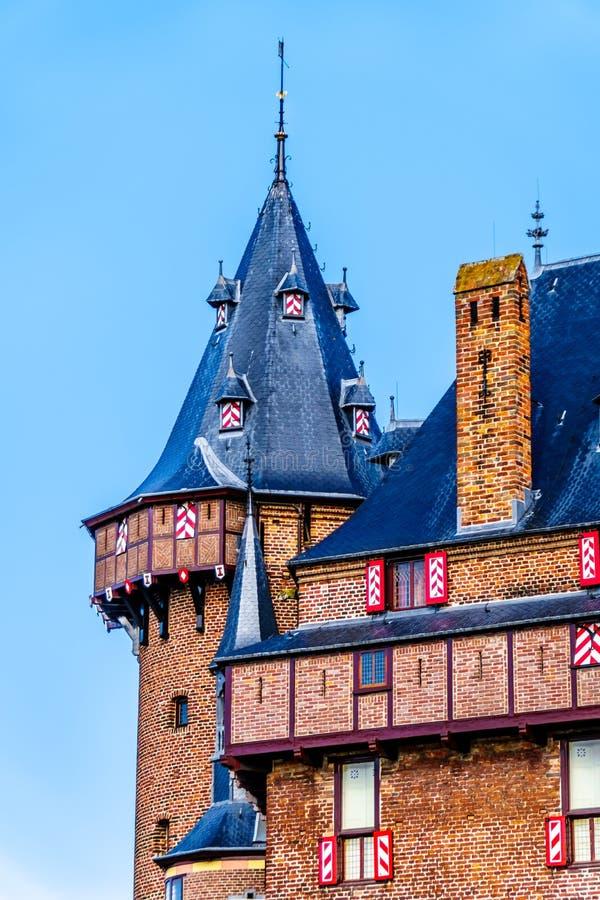 Torres de Castle De Haar, del castillo una reconstrucción del siglo XIV totalmente en los fin del siglo XIX imagen de archivo