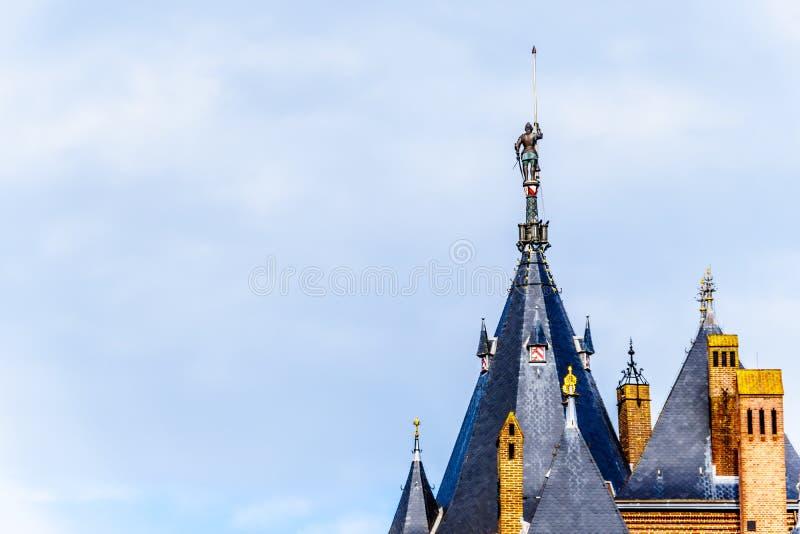 Torres de Castle De Haar, del castillo una reconstrucción del siglo XIV totalmente en los fin del siglo XIX foto de archivo