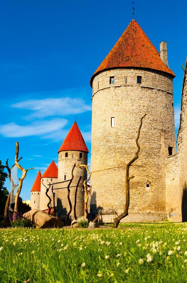 Torres de la pared de la ciudad en Tallinn fotografía de archivo