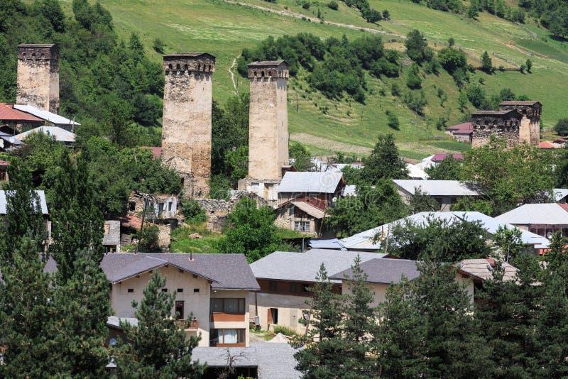 Torres de pedra de Svaneti, Geórgia imagem de stock
