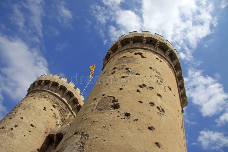 Torres de Quart, ein Teil der alten christlichen Stadtmauer in VALENCIA, SPANIEN stockfotos
