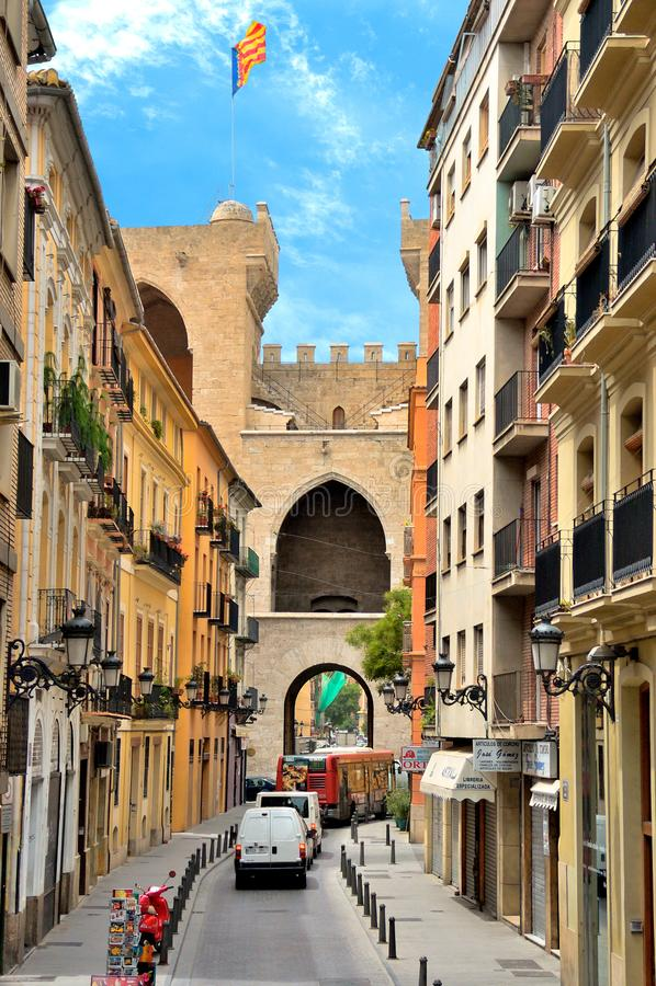 Torres de Quart in Valencia, Spanien stockfotos