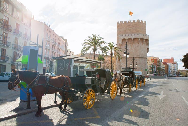 Torres de Valencia Torres de Serrano en España foto de archivo libre de regalías