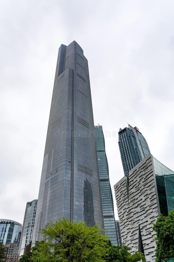 Torres de vidro na cidade nova de Zhujiang de Guangzhou fotografia de stock