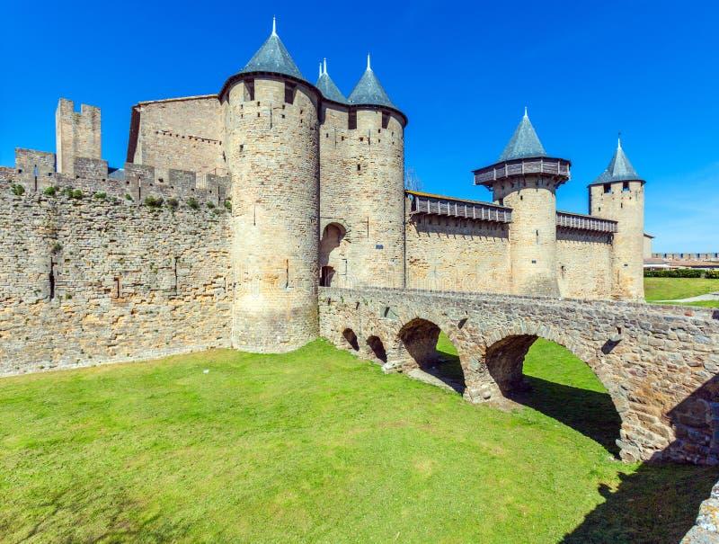 Torres del castillo medieval, Carcasona foto de archivo libre de regalías