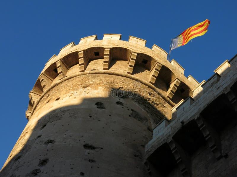 Torres del cuarto de galón, fuerte medieval en Valencia, España fotografía de archivo libre de regalías