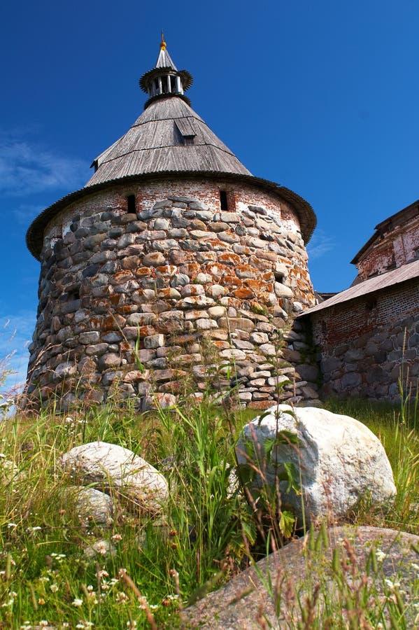 Torres del monasterio de Solovetsky imágenes de archivo libres de regalías