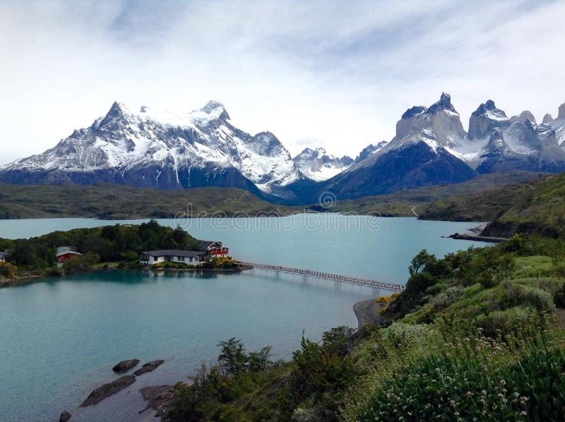 Torres del Paine achtergrond stock foto's
