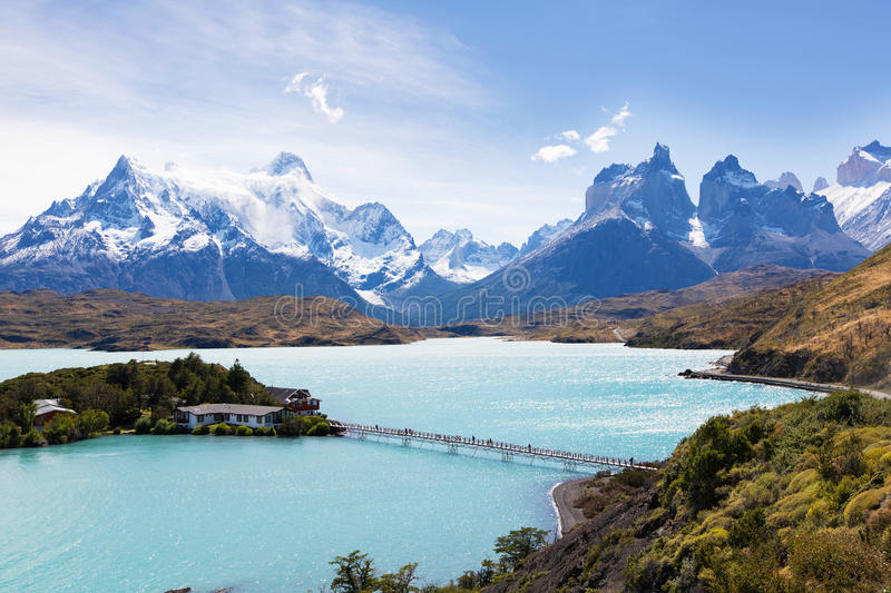 Torres del paine. Beautiful view at lake pehoe and cuernos del paine in torres del paine national park, patagonia, chile royalty free stock photography