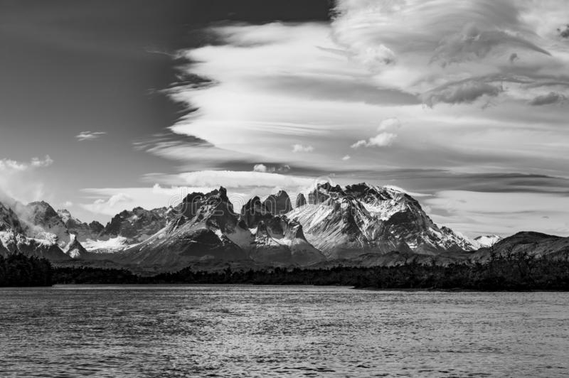 Torres del Paine in Black and White, Patagonia, Chile. Black and white vintage photograph of the Torres del Paine massif with the Cuernos del Paine in the stock photo