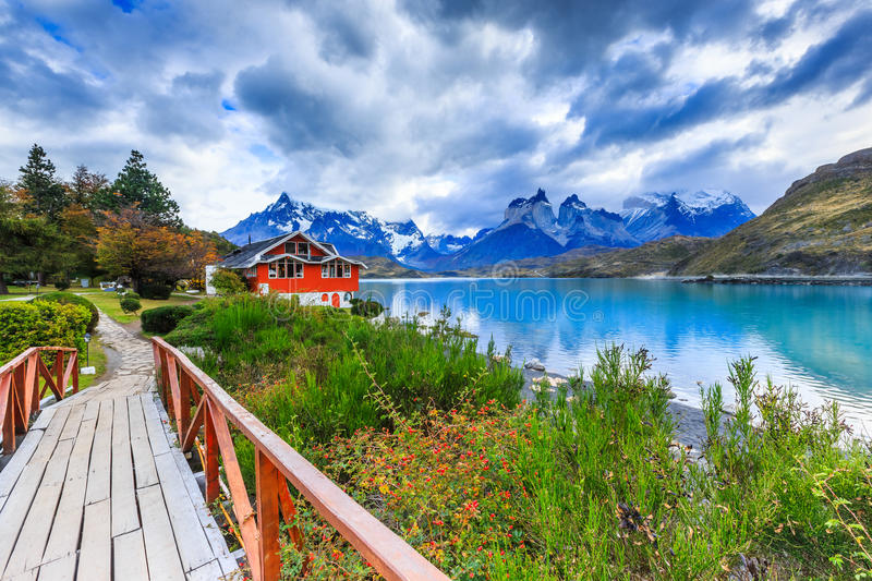 Torres Del Paine, Chile. Torres Del Paine National Park, Chile. Pehoe Lake royalty free stock photography