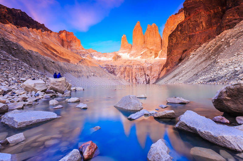 Torres Del Paine National Park, Chile. Sunrise at the Torres lookout royalty free stock images