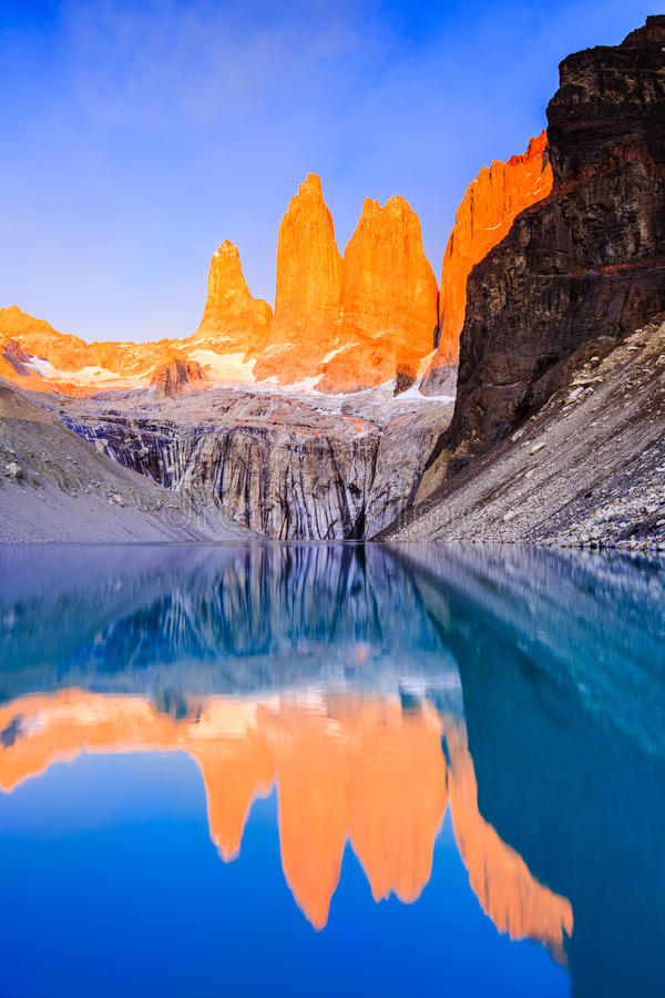 Torres Del Paine National Park, Chile. Sunrise at the Torres lookout stock photo