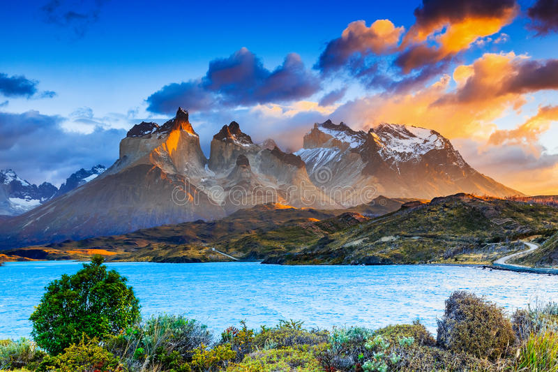 Torres Del Paine National Park, Chile. Sunrise at the Pehoe lake stock images