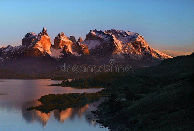 Torres del Paine National Park - Patagonia. Sunrise in Torres del Paine National Park in Patagonia in Southern Chile. South America royalty free stock photo
