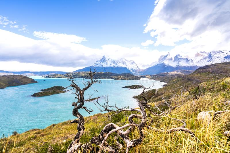 In the Torres del Paine national park, Patagonia, Chile, Lago del Pehoe royalty free stock images