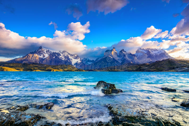 Torres del Paine National Park, Patagonia, Chile. Torres del Paine over the Pehoe lake, Patagonia, Chile - Southern Patagonian Ice Field, Magellanes Region of royalty free stock photo