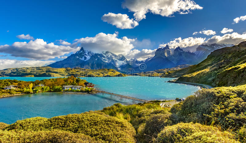 Torres del Paine National Park, Patagonia, Chile. Torres del Paine over Pehoe lake,Patagonia, Chile - Southern Patagonian Ice Field, Magellanes Region of South stock images