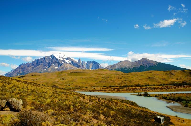 Torres del Paine National Park w-Trek royalty-vrije stock afbeelding