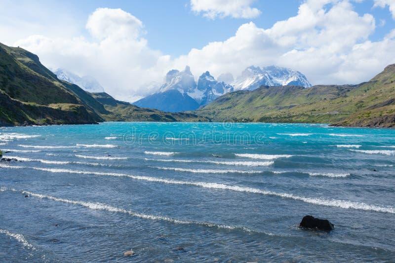Torres del Paine nationalparklandskap, Chile arkivbilder