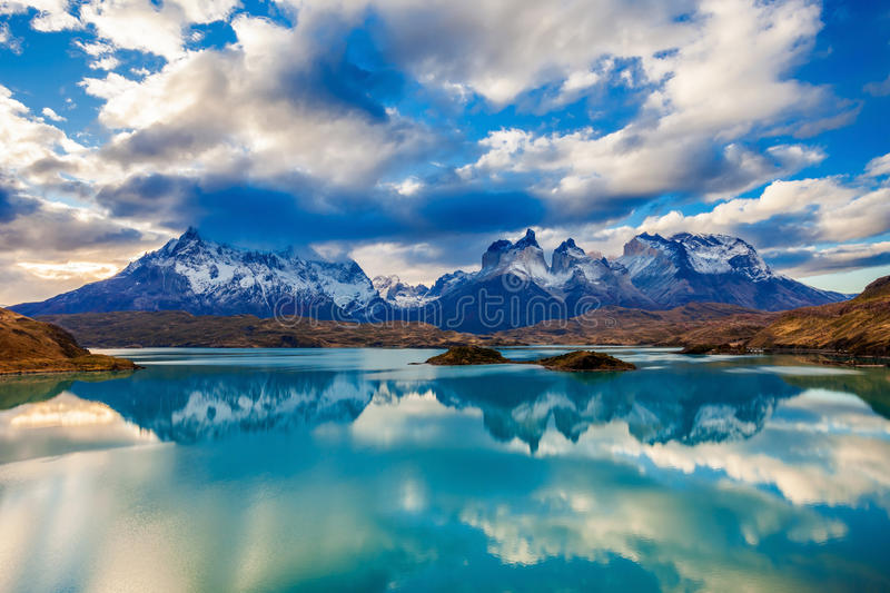 Torres del Paine Park. The Torres del Paine National Park sunset view. Torres del Paine is a national park encompassing mountains, glaciers, lakes, and rivers in royalty free stock images
