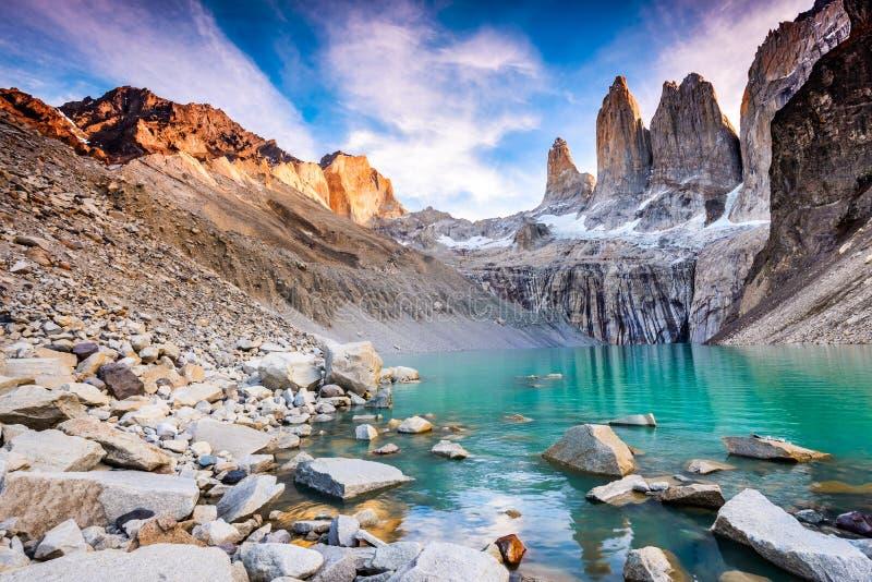 Torres del Paine, Patagonia, Chile. Torres del Paine, Chile - Laguna Torres, famous landmark of Patagonia royalty free stock photos