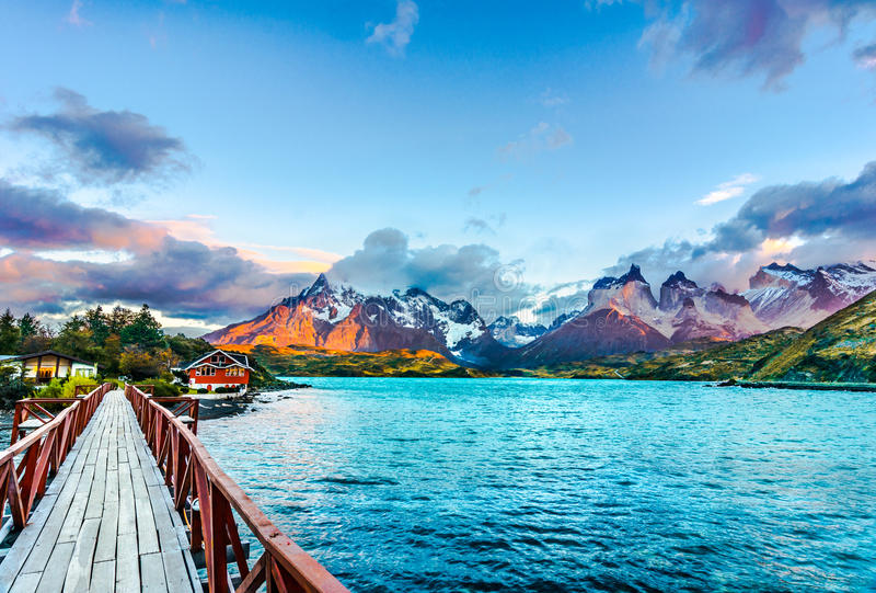 Torres del Paine, Patagonia, Chile - sydligt Patagonian isfält, Magellanes region av Sydamerika royaltyfria foton