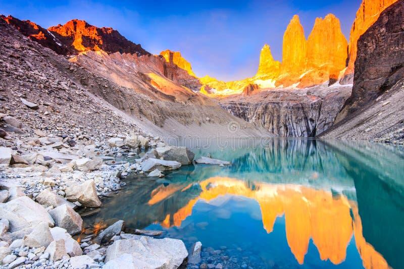 Torres del Paine, Patagonia, Cile fotografia stock