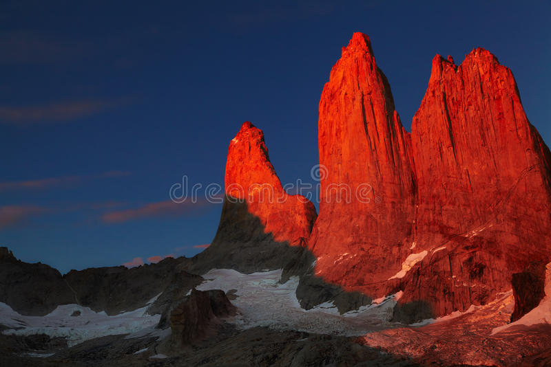 Torres del paine at sunrise. Towers at sunrise, Torres del Paine National Park, Patagonia, Chile stock images