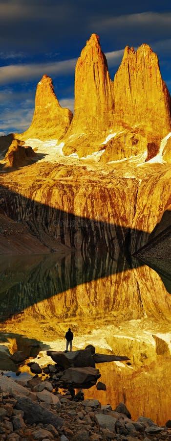 Torres Del Paine At Sunrise Stock Photos