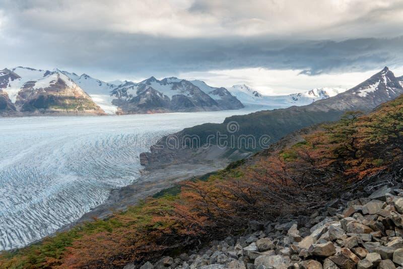 Glacier Grey with Mountains during Autumn royalty free stock photos