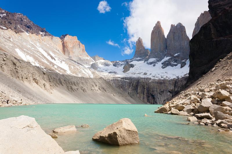 Torres del Paine view, Base Las Torres viewpoint, Chile royalty free stock photo