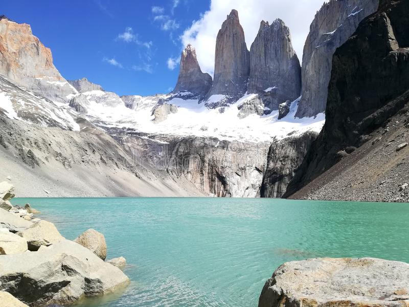 Torres del Paine. Viewpoint, Chile stock photos