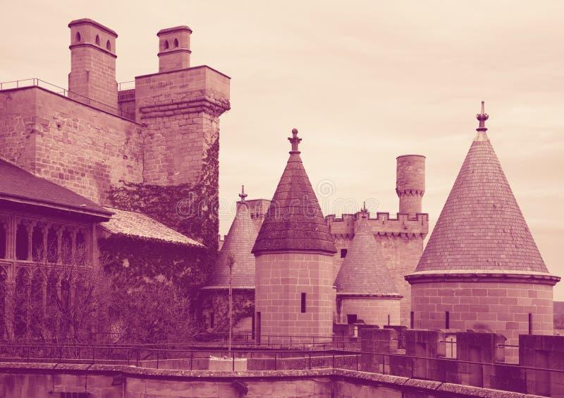 Torres do castelo gótico Foto tonificada imagem de stock
