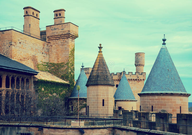 Torres do castelo gótico Foto tonificada fotografia de stock royalty free