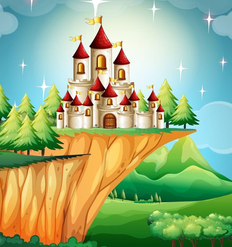 Torres do castelo no penhasco ilustração do vetor