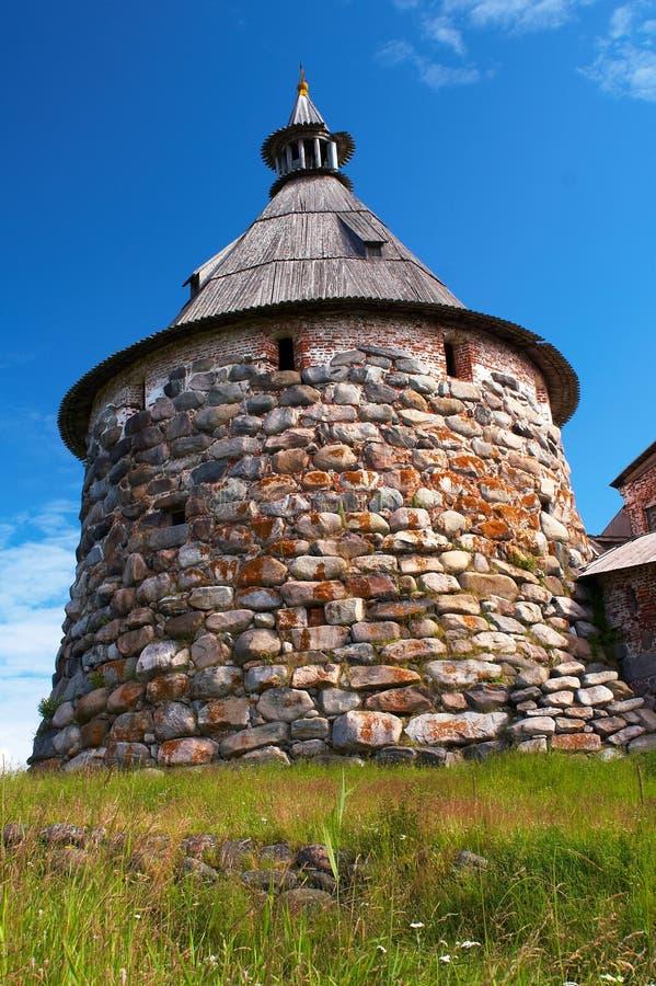 Torres do monastério de Solovetsky fotografia de stock