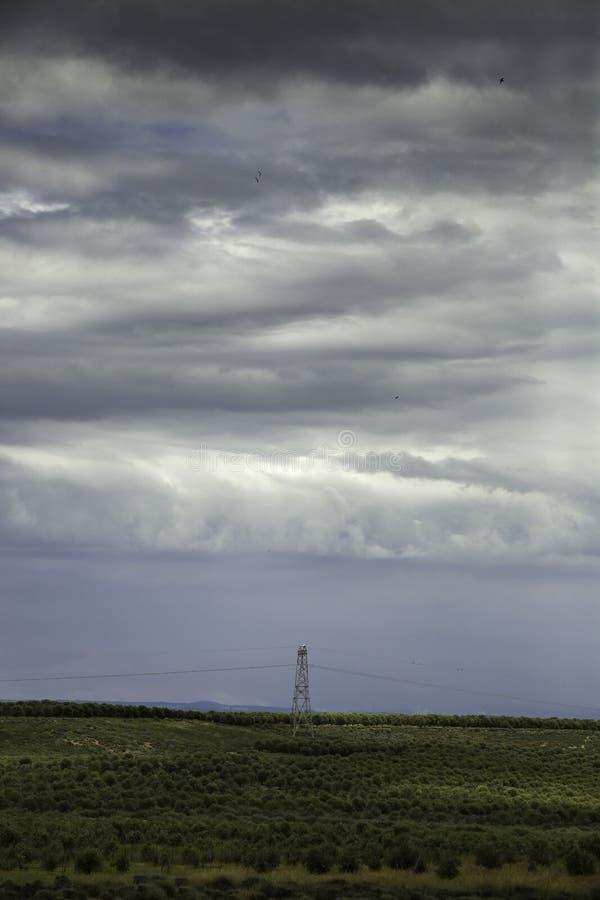 Torres eléctricas en un paisaje imagen de archivo