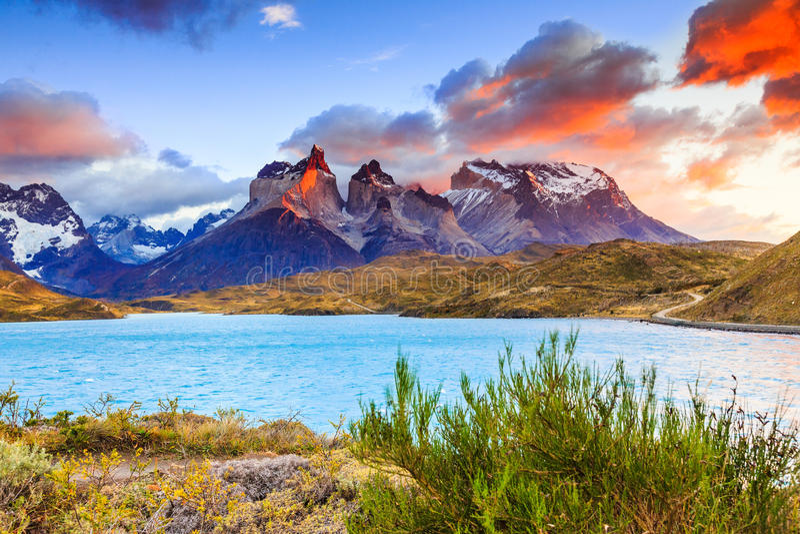 torres för park för paine för chile del nationella fotografering för bildbyråer