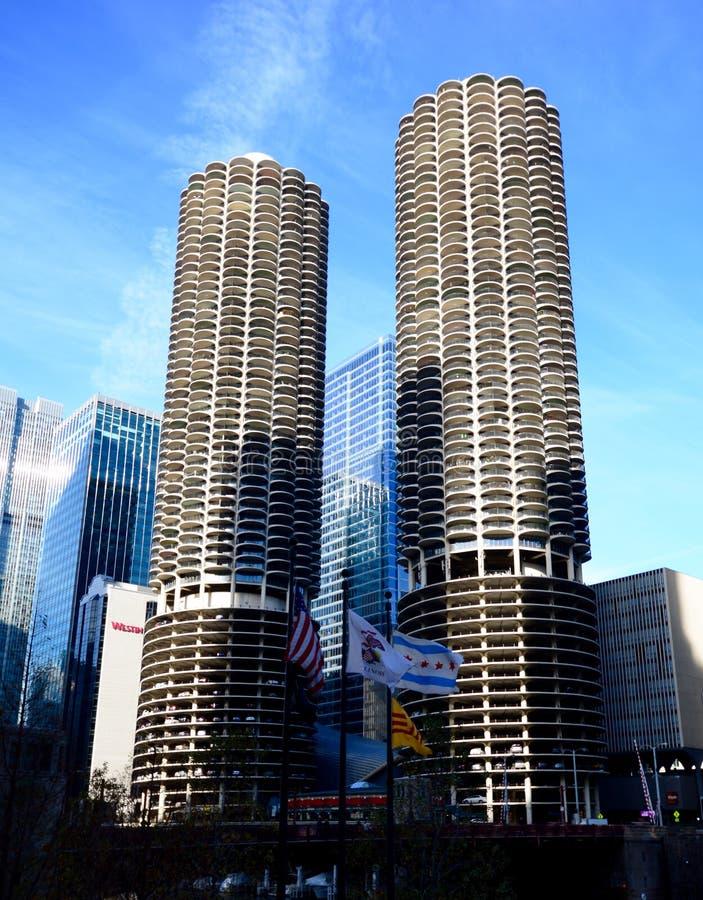 Torres gemelas de Chicago imagen editorial. Imagen de situado - 62864460