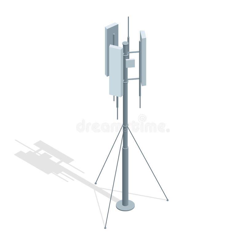 Torres isométricas das telecomunicações Uma ilustração lisa do vetor da antena do repetidor de uma comunicação do telefone celula ilustração royalty free