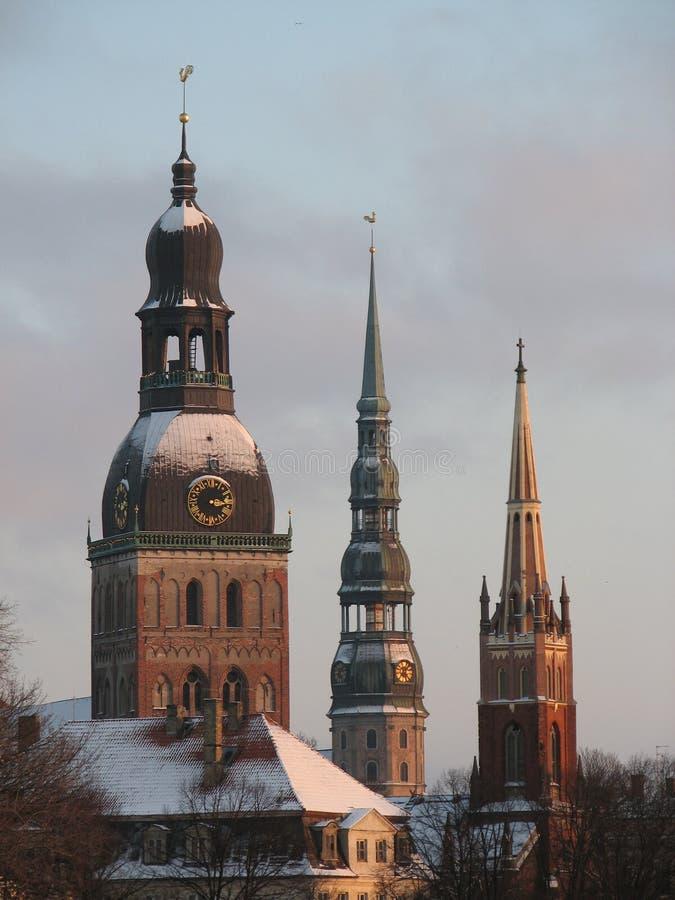 Torres velhas da cidade - Riga Latvia fotografia de stock royalty free