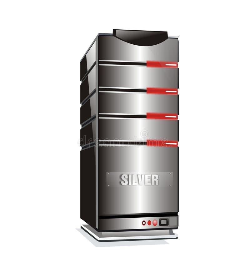 Torretta d'argento del server ospite illustrazione vettoriale